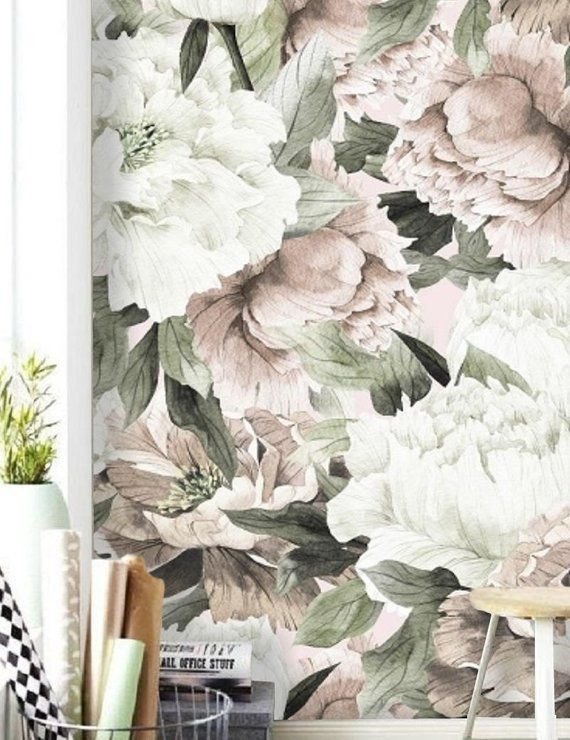 Peel And Stick Wallpaper Floral Large Floral Wallpaper Peonies Wallpaper Mural Floral Wall Mural Removable Peony Wall Paper Removable 118 Floral Wallpaper Large Floral Wallpaper Peony Wallpaper