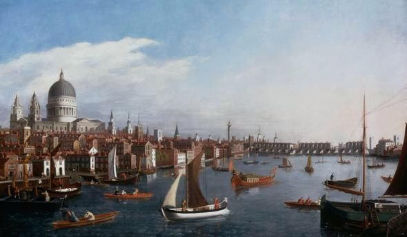 I give you a prospect of the Thames in the 18th century looking east towards Old London Bridge with the Royal Barge.
