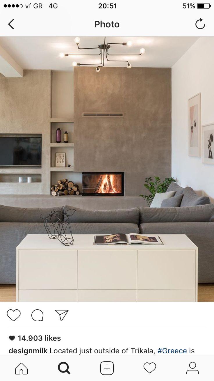Flat with a back yard project // fireplace and kourasanit coatings #fireplace #sfakiannakisphotography #livingroom #design