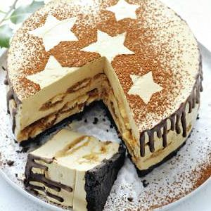 Kerst nagerechten: Tiramisutaart #tiramisu #chocolate #stars
