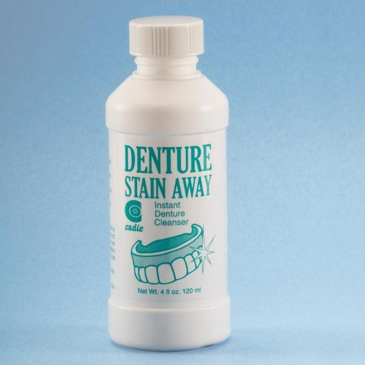 With Denture cleaner removes anal stains