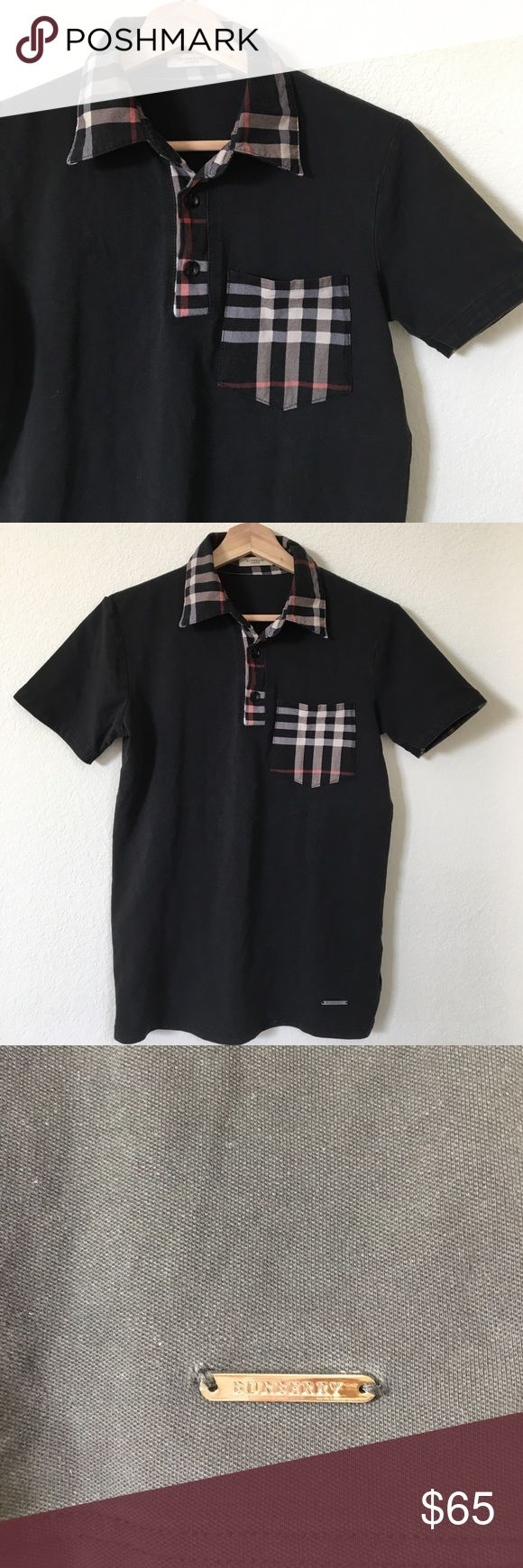 "{ Burberry } polo shirt Burberry polo shirt black with signature plaid accents (pocket, collar, inner sleeve and neck edge lining), 3 button down, Burberry logo charm on lower front side, previously worn and shows normal wash and wear to it including color fade; overall in good condition. 100% cotton very comfy. Measures laying flat approx pit to pit 18"" mid shoulder down 24"" Burberry Shirts & Tops Tees - Short Sleeve"