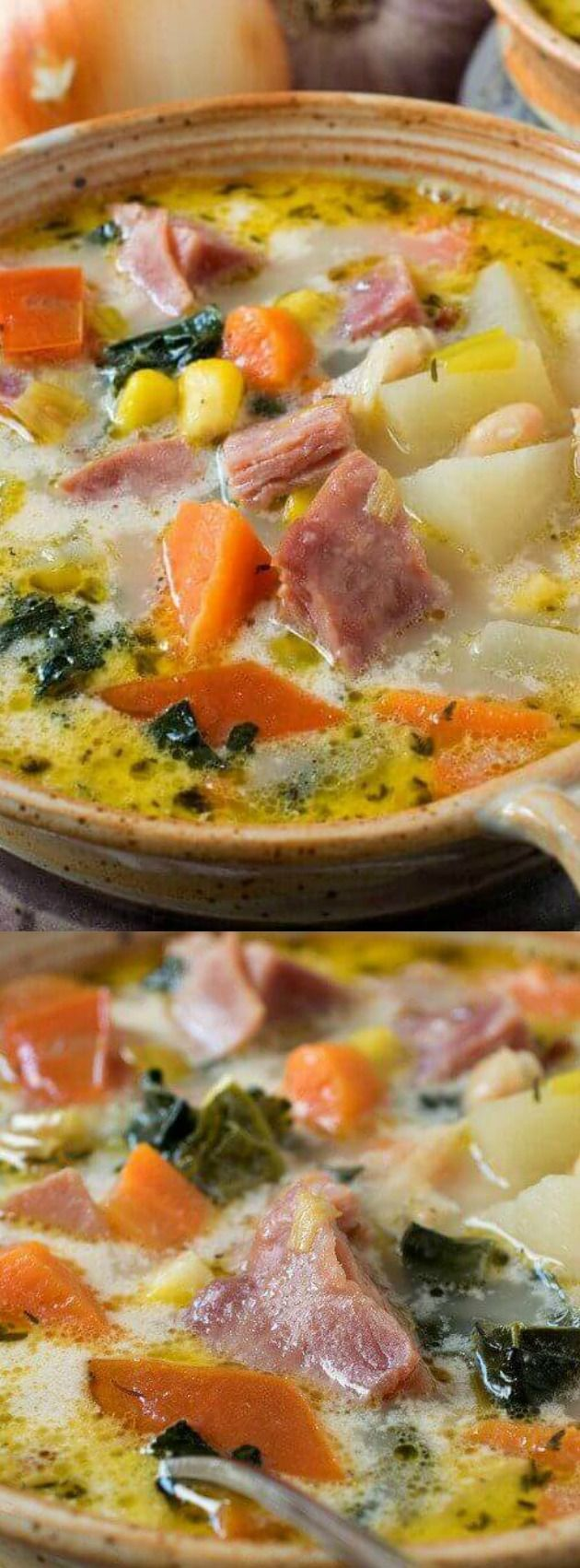 Ever find yourself with a leftover ham bone from a special Sunday dinner or even a holiday meal? No worries, this Ham and Vegetable Soup from A Family Feast has the perfect recipe for how to use that ham bone so that it doesn't go to waist.