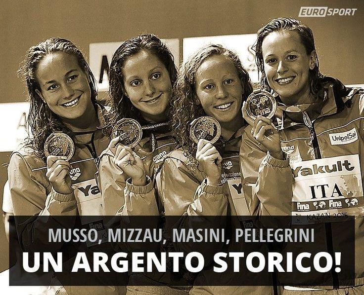 Musso, Mizzau, Masini e Pellegrini d'argento nella staffetta 4x200 stile libero a Kazan 2015