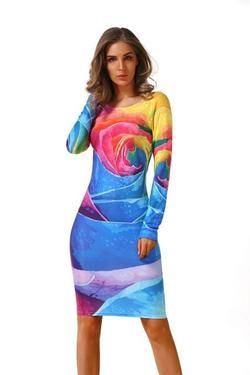 Women's Fashion - Long Sleeve Brazilian Print Club Wear Dresses-dress-www.1MinuteDeals.co.nz