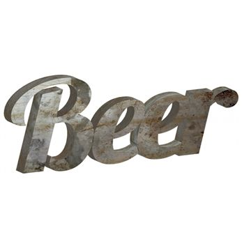 This Beer sign is made from reclaimed sheet metal & will be a great statement piece for your bar area! #beer #decor #metal