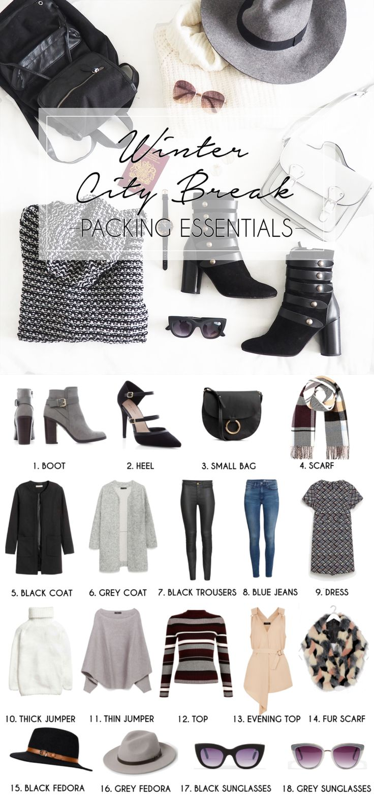 Winter City Break Packing Essentials. Fashion blogger post on how to pack for a winter getaway with just hand luggage carry on baggage. Fashion blogger essentials winter wardrobe necessities for dressing styling in Milan Italy or any city break. Capsule interchangeable wardrobe. Full Post on ClothesandStuff.co.uk