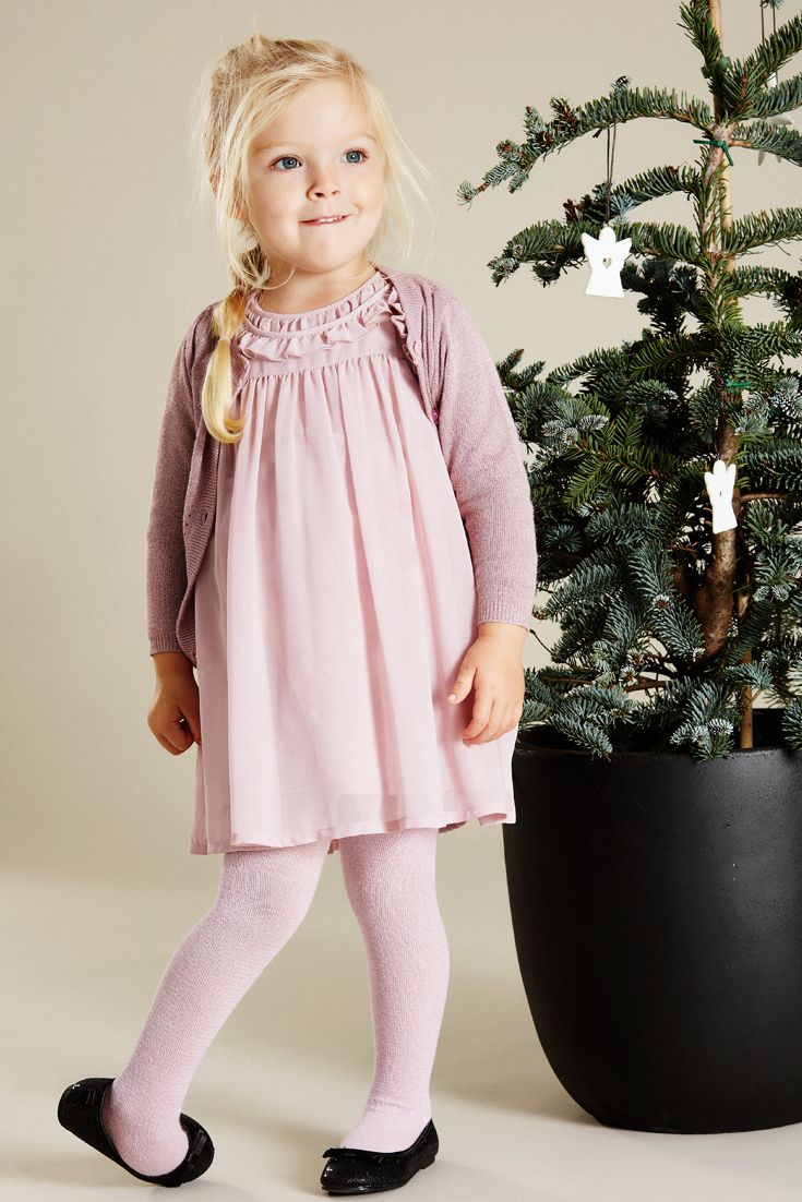 Hust&Claire mini girl - Rose dress in soft georgette with glitter dust. Cardigan i powder rose knit with lurex.