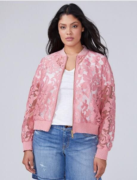 a2d409a7181 plus size pink lace bomber jacket from lane bryant