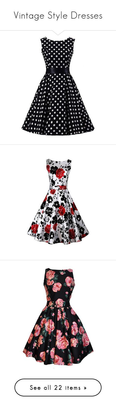 """""""Vintage Style Dresses"""" by adahgab ❤ liked on Polyvore featuring dresses, no sleeve dress, blue sleeveless dress, dot dress, blue polka dot dress, blue dress, robes, floral, vestidos i white"""