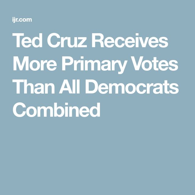 Ted Cruz Receives More Primary Votes Than All Democrats Combined