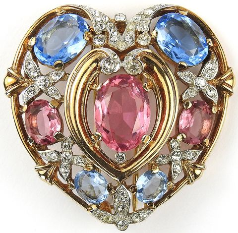 Trifari 'Alfred Philippe' Gold Pave Aquamarine and Pink Topaz Heart Pin Clip