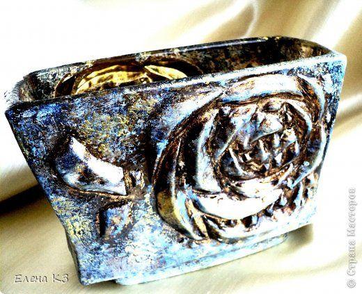 Декор предметов Декупаж Кракелюр Синее золото Краска фото 10