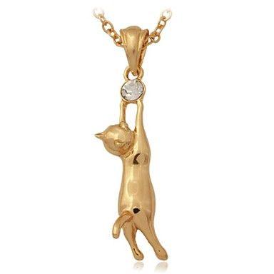 Joyería pendiente lindo gato el oro verdadero 18K plateó el collar del Rhinestone austríaco joyería Mujeres o Hombres – MXN $ 124.46