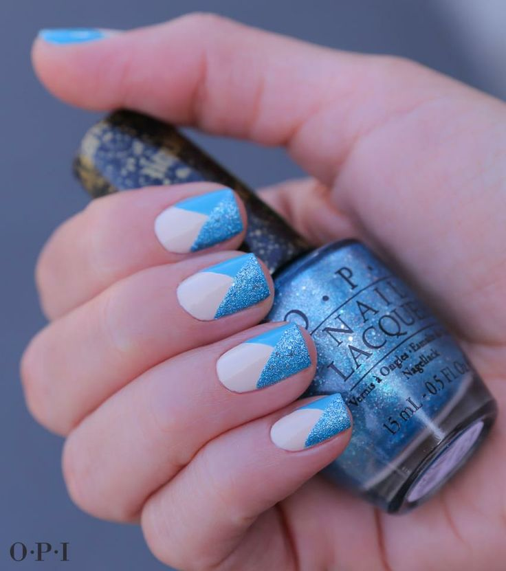 "Inspired by light blue skies and sparkling blue water, this textured nail design was MADE for sunny summer weekends!   This look features Bond Girls Liquid Sand shade ""Tiffany Case"" and Euro Centrale staples ""My Vampire is Buff"" and ""I Can't Find My Czechbook."""