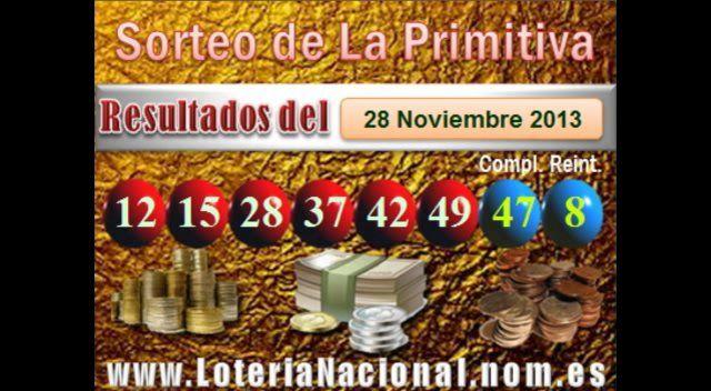 La Primitiva resultados sorteo del Jueves 28 de Noviembre 2013. Fuente: www.loterianacional.nom.es
