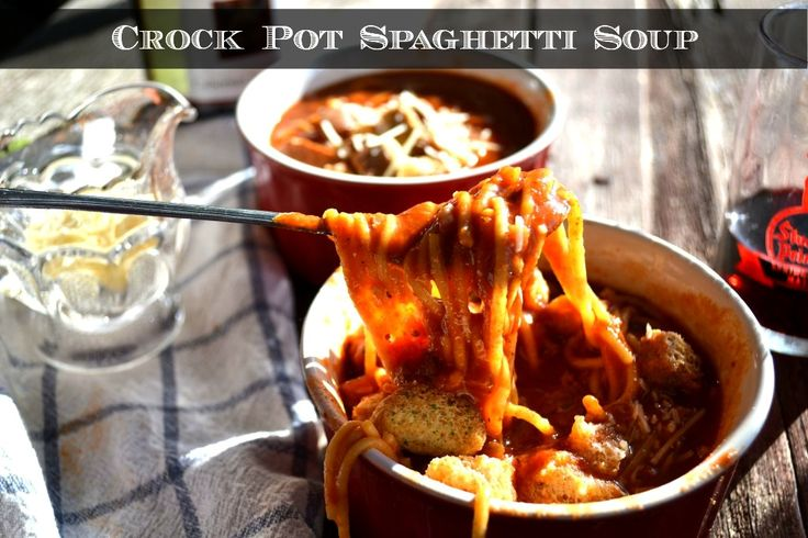 Crock Pot Spaghetti Soup with Leftovers - http://www.sofabfood.com/crock-pot-spaghetti-soup/ Repurpose that leftoverspaghetti when you make this simple and delicious Crock PotSpaghetti Soup.Toss your leftover spaghetti and a few additional ingredients in the slow cooker in the morning and come home to an easy weeknight dinner.  Have leftover spaghetti? Make Crock Pot Spaghetti Soup! B...