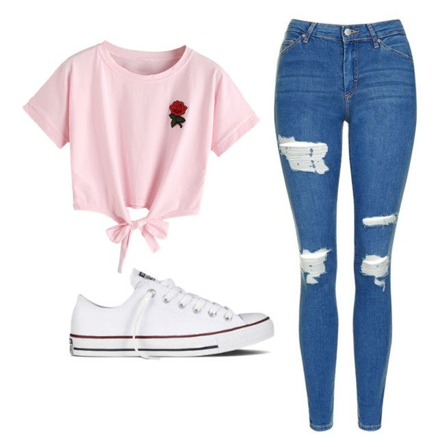 """""""Untitled #532"""" by cuteskyiscute ❤ liked on Polyvore featuring WithChic, Topshop and Converse"""