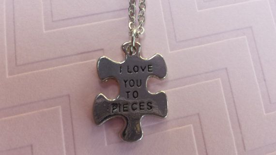 Puzzle piece I love you to pieces necklace by SillySquirrelJewelry