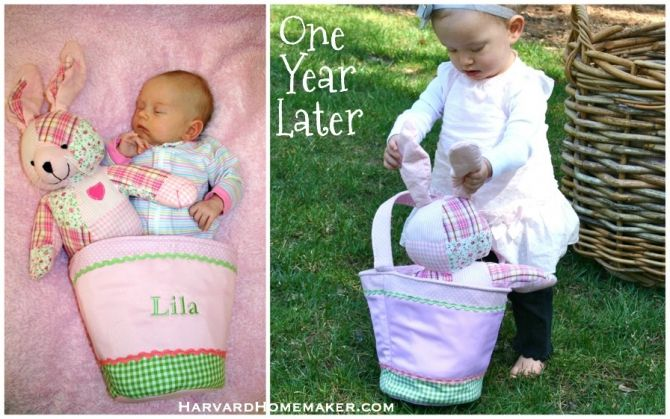 Baby's First Easter Photo Idea:  Take a picture of your baby with his/her basket and then take another photo the following year--again with the basket.  The basket will show some scale and help you appreciate how fast your baby has grown!  #Easter #photography #harvardhomemaker