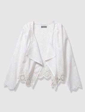 Cárdigan de gasa y bordado inglés niña blanco claro liso con motivos #circulogpr #fashion #modainfantil #vertbaudet