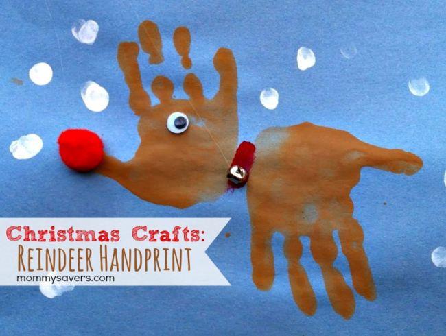 Kids Christmas Handprint Reindeer Party Craft Idea