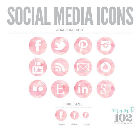 Round Watercolor Social Media Icons by Mint102 on Etsy, $6.50