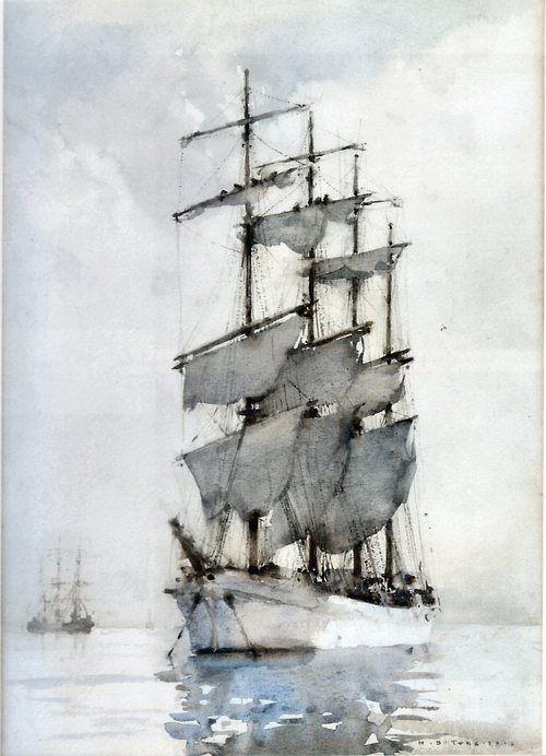 keroiam: Four Masted Barque, 1914, Henry Scott Tuke, watercolor : The Athenaeum