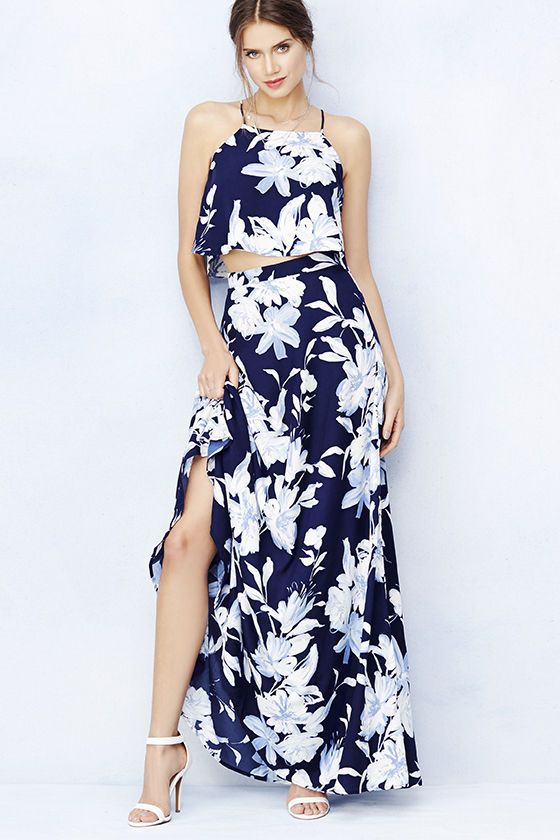 MADE IN THE USA: Love for Lanai Navy Blue Floral Print Two-Piece Maxi Dress at Lulus.com!