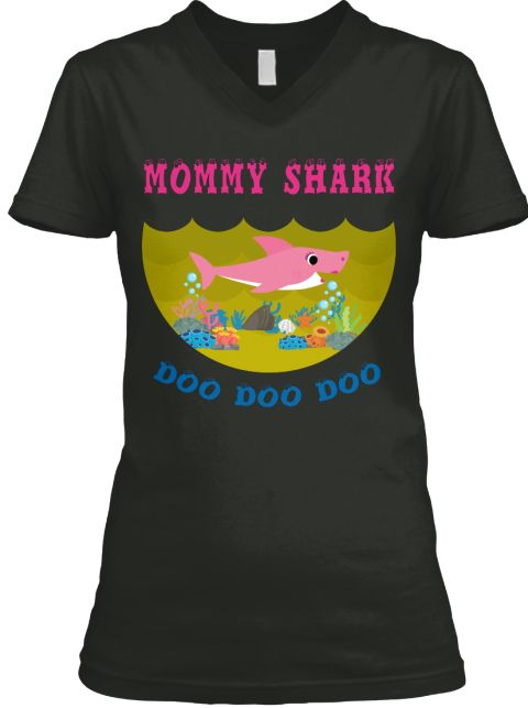 Mommy Shark Doo Doo Doo Black áo T-Shirt Front