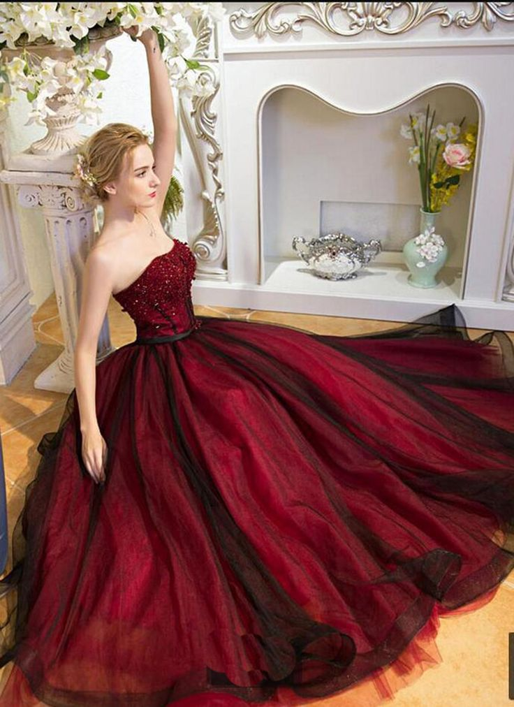 Beaded burgundy tulle prom gown wedding dress