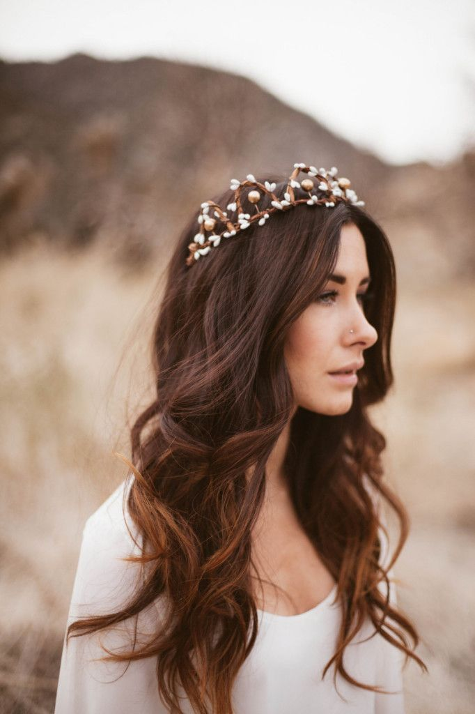 Woodland Bridal Crown of White and Gold Berries