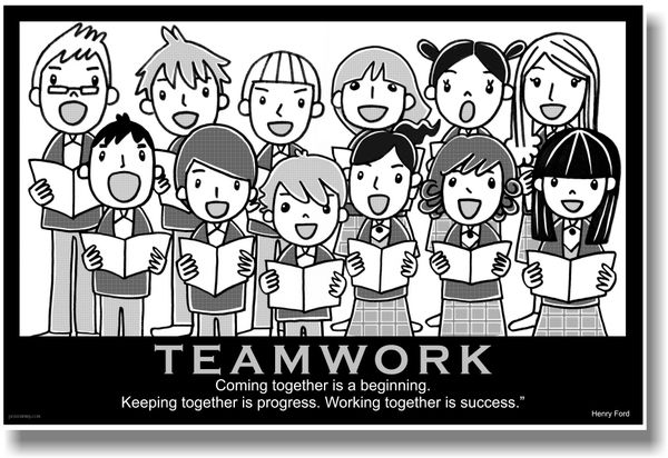 Coach Universal Clip Art Reading Literacy Poster : Teamwork choir coming together is a beginning keeping