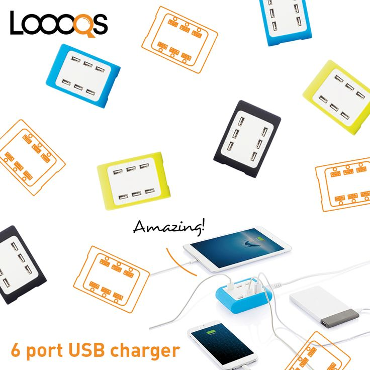 Powerful 4.2A charging station with 6 USB ports and built in LED lights. Comes with white cable and EU adapter.