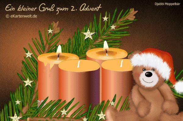 Ein kleiner Gruß zum 2. Advent. Animierte Grußkarte mit Djabbi Moppelbär