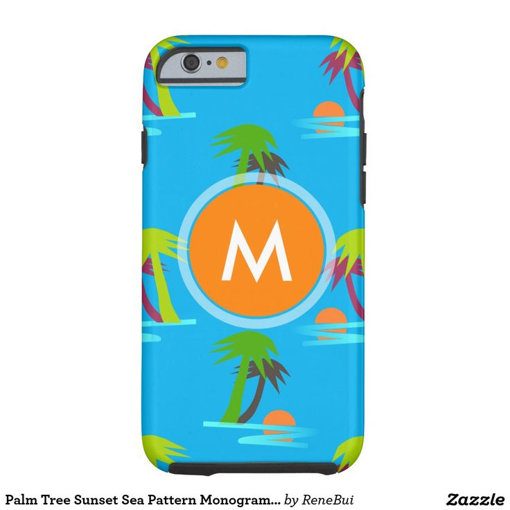 Palm Tree Sunset Sea Pattern Monogram Iphone Tough iPhone 6 Case
