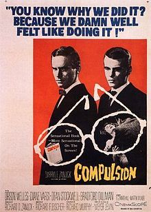 """Thrillkillers (Bradford Dillman and Dean Stockwell) knock off a kid as a college prank. They'd have gotten away with it if those meddling cops haven't found a clue - Stockwell's glasses (oh boy). A brilliant attorney makes their case for life (""""Citizen Kane"""")."""