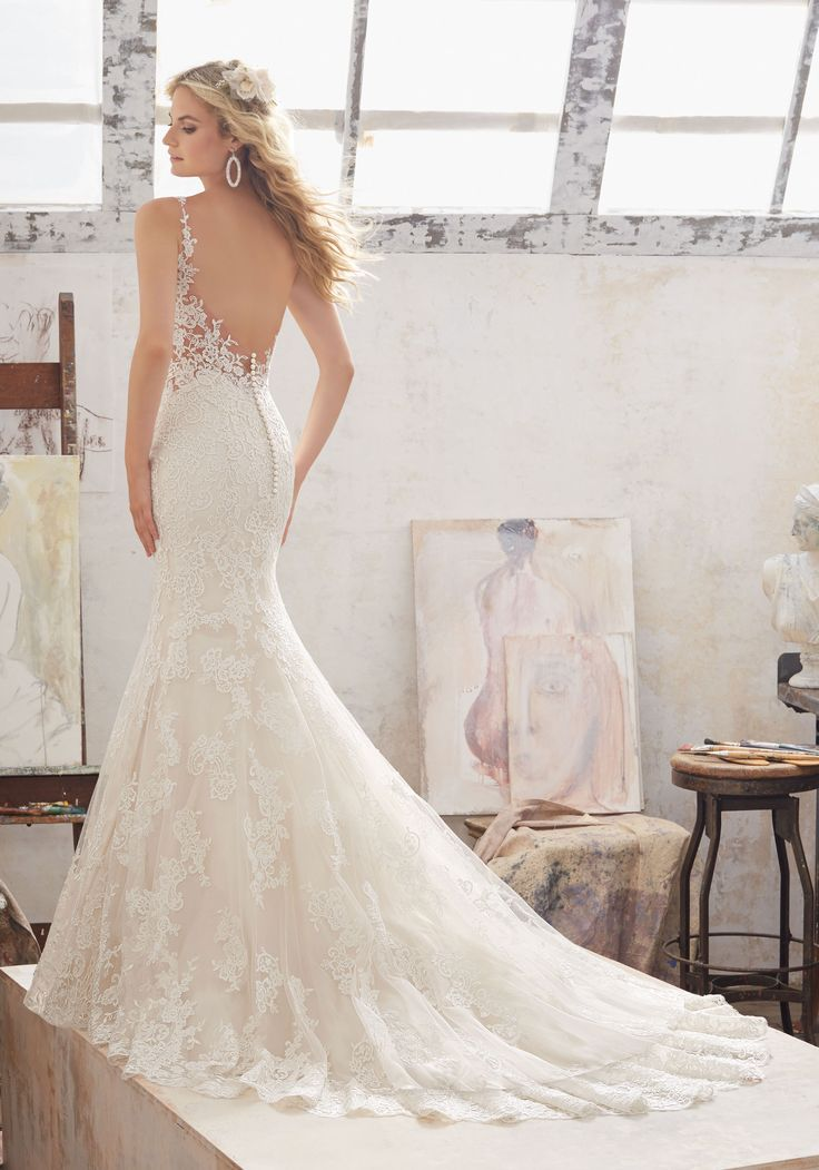 Morilee by Madeline Gardner 'Marcelline' 8115 | Fit & Flare Wedding Dress Features Frosted Alençon Lace AppliquŽés on Net with. Illusion Panels at the Waist Complete the Look. Covered Button Detail Accents the Illusion Back.