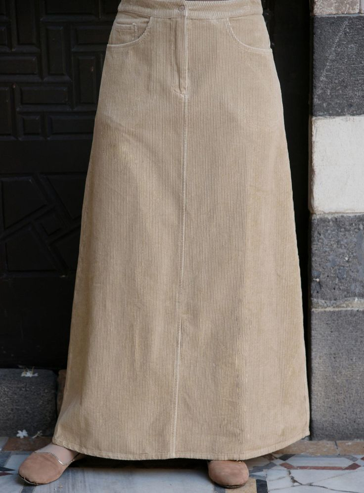 SHUKR 5-Pocket Corduroy Skirt   A casual skirt classic and great alternative to long denim skirts.