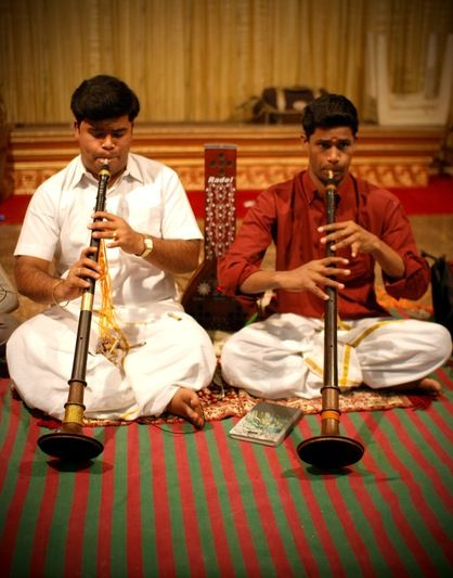 Here players nâgasvaram. It is used in South India at weddings