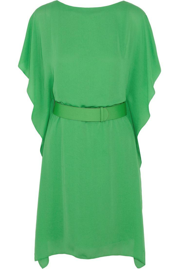Halston Heritage Belted satin-crepe dress NET-A-PORTER.COM