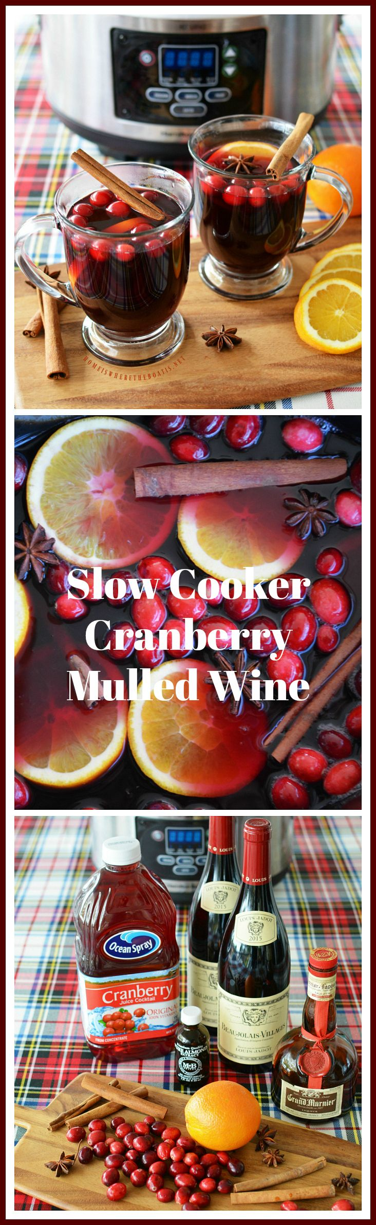 Slow Cooker Cranberry Mulled Wine | homeiswheretheboatis.net