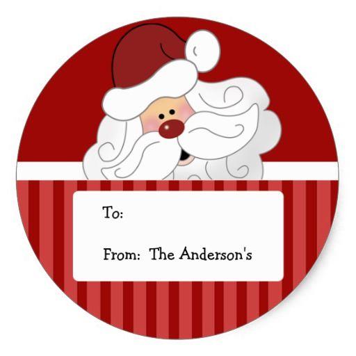 Santa claus round holiday christmas tag stickers