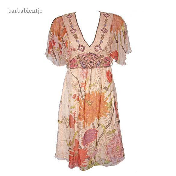 RENE DERHY - Romantische voile jurk met bloemen mt S - Leuke tweedehands kleding bij Barbabientje