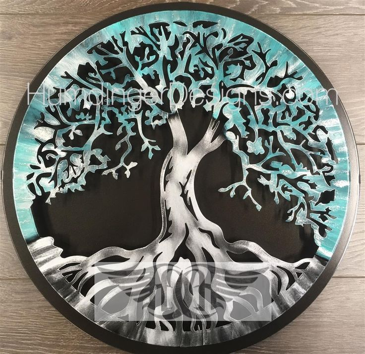 Tree of Life (Antique Teal Silver Sparkle) with Simple Dark Background - Humdinger Designs