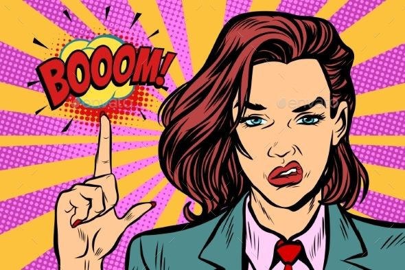 Boom Strong Woman Index Finger Up Boom Pop Art Retro Vector Illustration Kitsch Vintage Drawing Str Retro Vector Illustration Retro Illustration Retro Vector