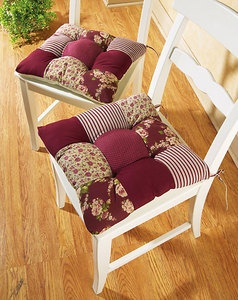 set 2 red country patchwork kitchen chair seat cushion pads new b2173. beautiful ideas. Home Design Ideas