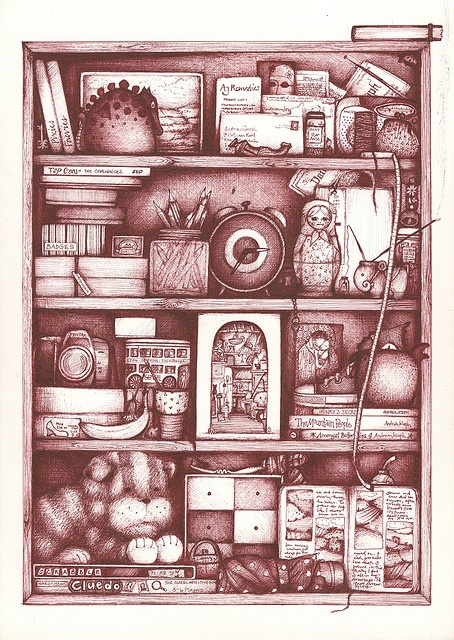 Inspiration: draw some shelves with strange [or normal] items. (Andrea Joseph illustration)