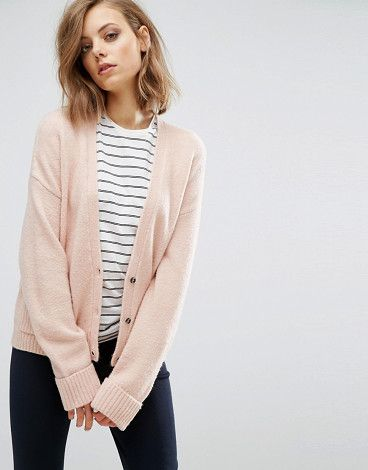 Cardigan in Wool Mix with Pockets by Asos. Cardigan by ASOS Collection, Midweight wool-mix fabric, Super soft-touch finish, V-neck, Button placket, Functional p...