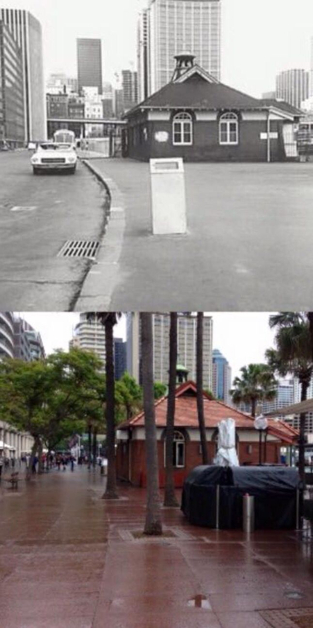 Another view of the Sydney Cove Oyster Bar at East Circular Quay in 1973 and 2015. [1973 - Sydney City Archives>2015 - by Phil Harvey]